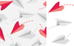 Paper airplanes  on white and seamless pattern Royalty Free Stock Photos