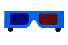 Paper anaglyph 3D glasses stock images