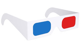Paper anaglyph glasses. Isolated render on a white background Royalty Free Stock Image