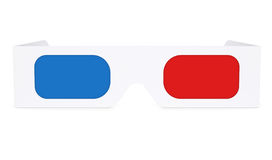 Paper anaglyph glasses. Isolated render on a white background Stock Photography