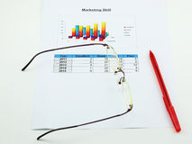 A paper of analyse marketing, pen and spectacles Royalty Free Stock Photo