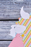Paper animalistic silhouettes. Colorful patterned paper. Handmade decorations for Easter royalty free stock photography