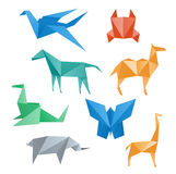 Paper animals wildlife, origami style. Royalty Free Stock Photo