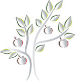 Paper apple tree. Apple tree. Creative paper design. Beautiful apple tree with leafs and apples vector illustration