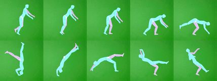 Paper applique. Movement men. Tumbling, sports. Paper applique. Movement men. Tumbling sports. Manual cutting parts. Moving pictures Royalty Free Stock Image