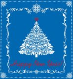 Paper applique for New Year holiday with cut out paper fir tree and snowflakes. Greeting cardwith paper applique for New Year holiday with cut out paper fir tree Stock Photo