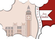 Paper applique style vector illustration. Card with application of Big Ben Tower and Westminster Palace. London. Paper applique style illustration. Card with Royalty Free Stock Photo
