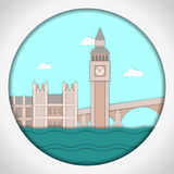 Paper applique style vector illustration. Card with application of Big Ben Tower and Westminster Palace. London.Postcard Royalty Free Stock Photos