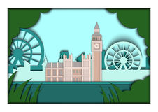 Paper applique style vector illustration. Card with application of London ponorama with Big Ben Tower and Westminster. Paper applique style illustration. Card Stock Photos