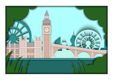Paper applique style vector illustration. Card with application of London ponorama with Big Ben Tower and Westminster. Paper applique style illustration. Card Royalty Free Stock Photo