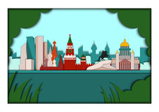 Paper applique style vector illustration. Card with application of Moscow and Sain Petersburg ponorama with Kremlin Royalty Free Stock Photo