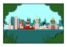 Paper applique style vector illustration. Card with application of panorama of the largest Russian cities. Moscow, Saint Stock Photography