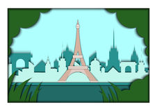 Paper applique style vector illustration. Card with application of Paris ponorama with Eiffel Tower. Postcard Royalty Free Stock Image