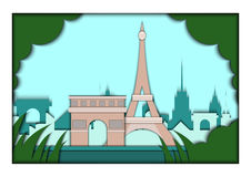 Paper applique style vector illustration. Card with application of Paris ponorama with Eiffel Tower and Triumphal Arch Royalty Free Stock Images