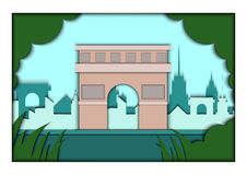 Paper applique style vector illustration. Card with application of Paris ponorama with Triumphal Arch. Postcard Royalty Free Stock Photography