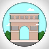 Paper applique style vector illustration. Card with application of Triumphal Arch, Paris, France. Postcard. Stock Image
