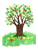 Paper applique -  a tree with apples Royalty Free Stock Photo