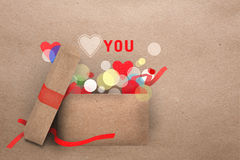 Paper applique Valentine greeting card Royalty Free Stock Photos