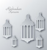 Paper Arabic Lamps with Shadows for Ramadan Kareem Stock Photos