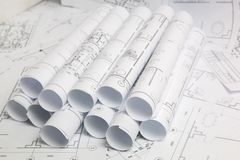 Paper architectural drawings and blueprint. Engineering blueprint. And drawings. Engineer job stock images