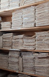 Paper archive of documents. The out-of-date form of storage of paper documents stock image