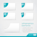 Paper Area Infographic Elements. Paper elements area for infographics. The elements are isolated and editable. Sample numbers replaceables Stock Image