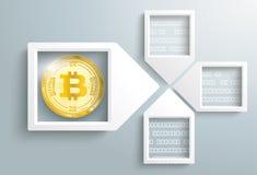 Paper Arrow Frames Data Bitcoin Blockchain. 4 paper arrow frames with data and golden bitcoin on the gray backround Royalty Free Stock Photo