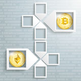 Paper Arrow Frames Data Ethereum Bitcoin Blockchain. 4 paper arrow frames on the gray backround with golden coins of bitcoin and ethereum Stock Image