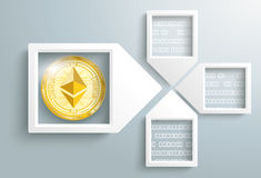 Paper Arrow Frames Data Ethereum Blockchain. 4 paper arrow frames with data and golden ethereum coin on the gray backround Stock Images