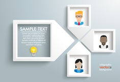 Paper Arrow Frames Solution Humans Infographic. 4 paper arrow frames with human faces on the gray backround royalty free illustration