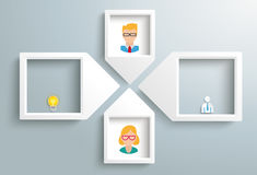 Paper Arrow Frames Solution Woman Man Business. 4 paper arrow frames with humans on the gray backround royalty free illustration