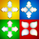 Paper arrows. Vector set of paper arrows with colored outline Vector Illustration