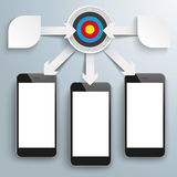 Paper Arrows Big Flowchart Infographic Target 3 Smartphones. White paper arrows with gears, target, arrows and smartphones on the gray background Stock Images