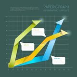 Paper arrows info-graphic on dark background. Vector Illustration. stock illustration