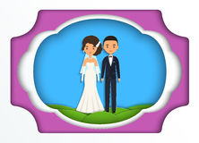 Paper art background with bride and groom. Vector. Royalty Free Stock Photography