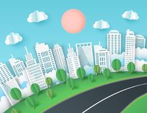 Paper art background with city view. Fluffy paper clouds, road. Green lawn with trees, scyscrapers. Trendy origami paper cut style. Vector illustration Stock Photography