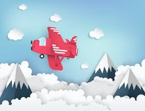 Paper art background with paper clouds red airplane stock illustration
