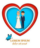 Paper art background with newlyweds. Vector illustration in orig Stock Photo