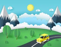 Paper art background, yellow car on the road near mountains. Green lawn with trees and bushes. Fluffy paper clouds and sun. Vacation and travel concept. Vector Royalty Free Stock Image