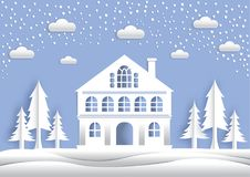 The paper art the big house, the middle of the winter, the trees vector illustration