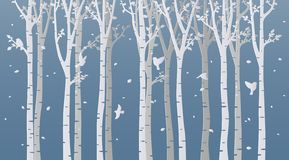 Paper art birch tree on blue background royalty free illustration