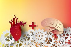 Paper art of brain and heart with gear concept idea,vector,busin Stock Photos