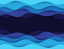 Paper art cartoon abstract waves. Paper carve background. Modern origami design template. Vector illustration. 3d paper layers, sea waves Royalty Free Stock Photos