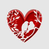 Paper art carve to couple birds on tree branch in heart shape, origami concept. Stock Photo
