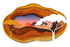 Paper art carving of African landscape. Paper art carving with African landscape. Safari park. Cut style. Vector illustration Royalty Free Stock Photos