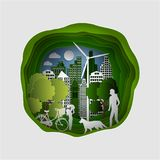 Paper art carving of City with trees and Clouds. Ecology Concept. Vector illustration royalty free illustration