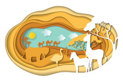 Paper art carving of landscape with african animals. Paper art carving with landscape with african animals. Safari park. Cut style. Vector illustration Stock Photo