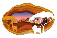 Paper art carving of landscape with african animals. Safari park. Cut style. Vector illustration Stock Photography