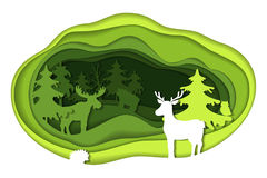 Paper art carving of landscape with forest animals. Paper art carving with green landscape with forest animals. Cut style. Vector illustration Royalty Free Stock Image