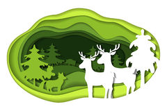 Paper art carving of landscape with forest animals. Paper art carving with green landscape with forest animals. Cut style. Vector illustration Royalty Free Stock Images